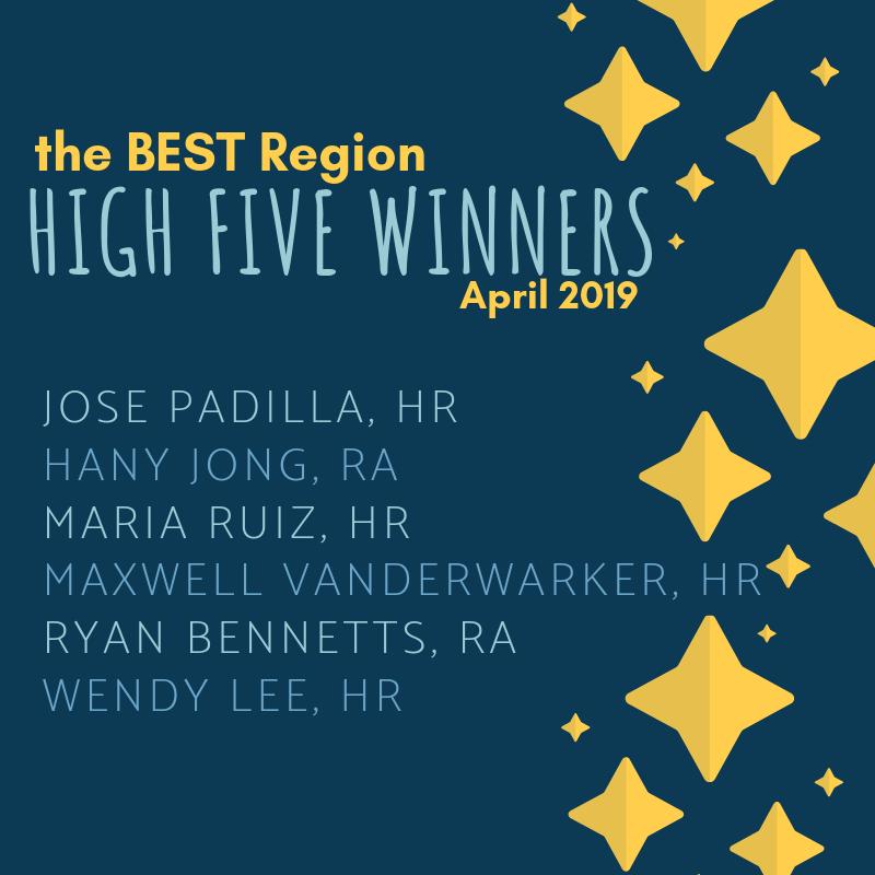 April 2019 BEST High Five Winners