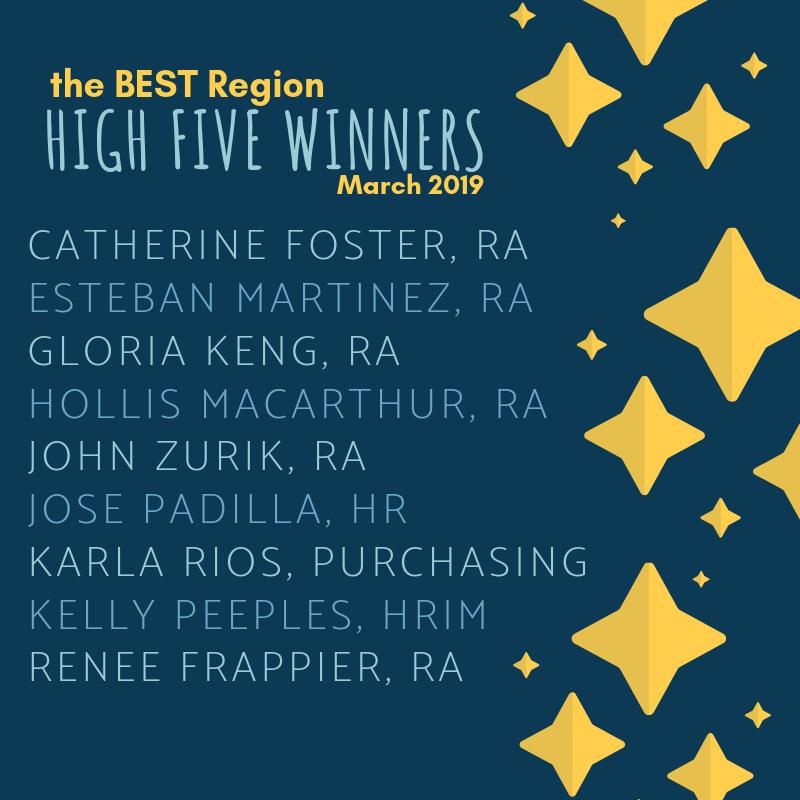 March 2019 BEST High Five Winners!