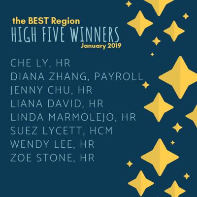 Best Region High Five Winners January 2019
